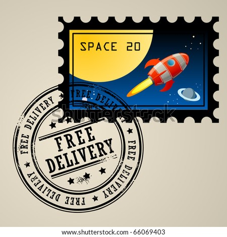 Post stamp with rocket in the space and grunge stamp with text Free delivery, vector illustration - stock vector