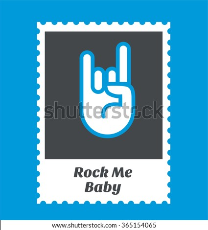 Postage stamp frame with rock symbol - stock vector