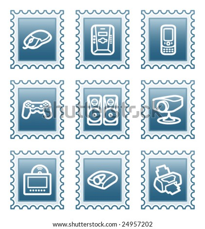 Postage stamp set 21 - stock vector