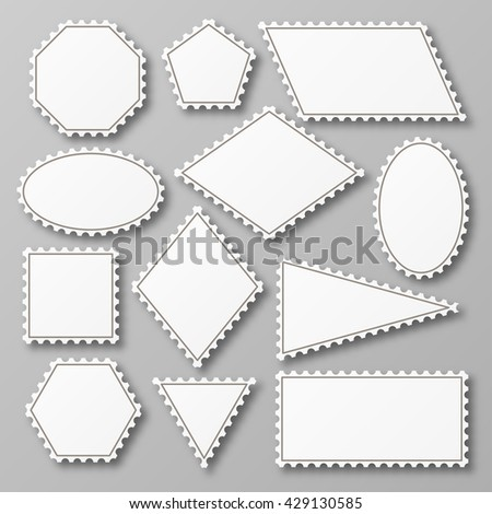Postage stamp set. Shiny white design with shadow. Vector illustration.  - stock vector
