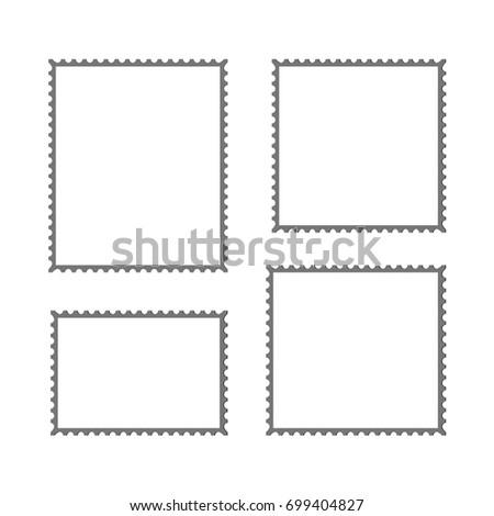 postage stamp vector blank mockup square stock vector 699404827