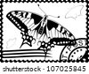 Postage stamp with a picture of a butterfly stamp and mail. Black and white illustration. - stock vector