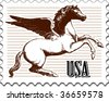 Postage stamp with illustration - stock vector