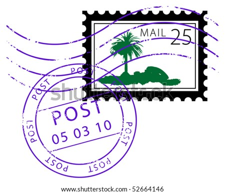 Postage stamp with palm, vector illustration - stock vector