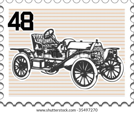 Postage stamp with retro car - stock vector