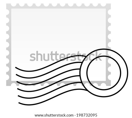 Postage stamp with rubber stamp. - stock vector
