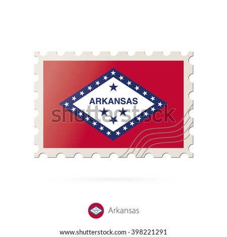 Postage stamp with the image of Arkansas state flag. Arkansas Flag Postage on white background with shadow. Vector Illustration. - stock vector