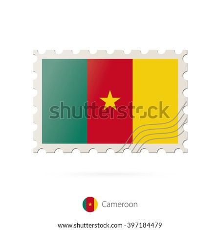 Postage stamp with the image of Cameroon flag. Cameroon Flag Postage on white background with shadow. Vector Illustration.