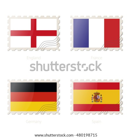 Postage stamp with the image of England, France, Germany, Spain flag. Vector Illustration.