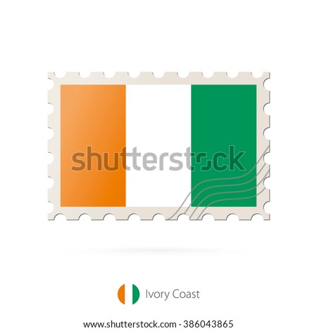 Postage stamp with the image of Ivory Coast flag.