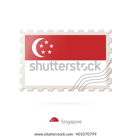 Postage stamp with the image of Singapore flag. Singapore Flag Postage on white background with shadow. Vector Illustration. - stock vector