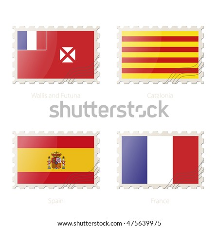 Postage stamp with the image of Wallis and Futuna, Catalonia, Spain, France flag. Vector Illustration.