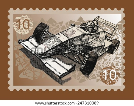 Postage stamp with the race car and racer, drawn vector illustration - stock vector