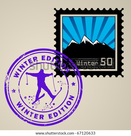 Postage stamp with Winter mountain and postmark with text Winter edition, vector illustration - stock vector