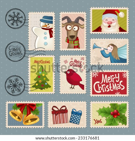 Postage stamps for Christmas - stock vector