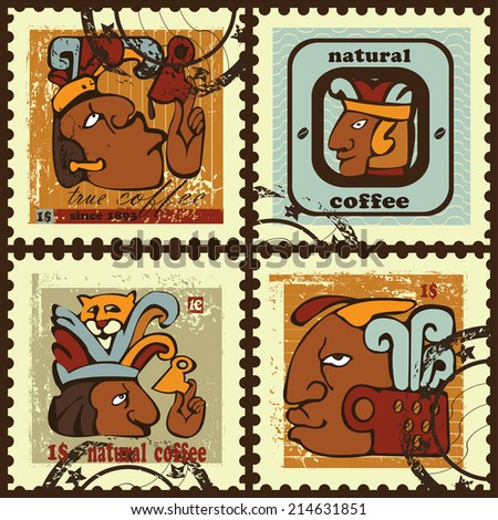 Postage stamps. Set  contains the images of cups, men, jaguar,hallmark and text.Postage stamps made on a basis  of Maya  Indians  hieroglyphs. - stock vector