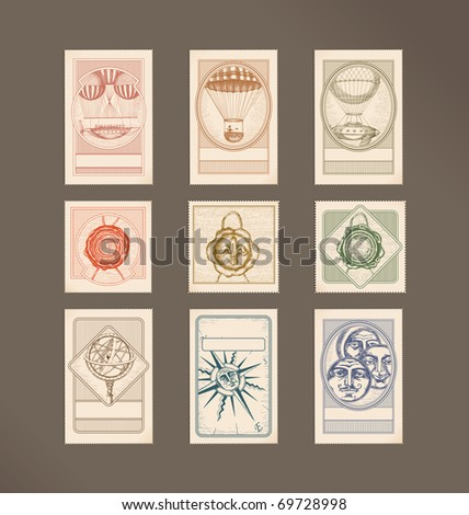 Postage stamps- vintage illustrations- flying machines, wax seals, Armillary Sphere,compass rose, circle faces - stock vector