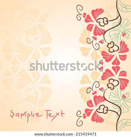 Postal card, flowers, vector,background - stock vector