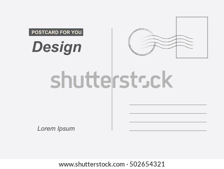 Postal card for travel vector. Template design for your cards.