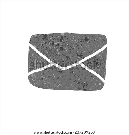 postal envelope sign with beautiful texture. - stock vector