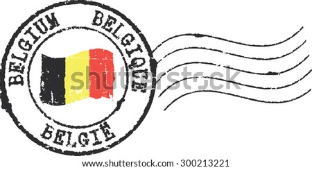Postal grunge stamp 'Belgium'. English, french and dutch inscription - stock vector