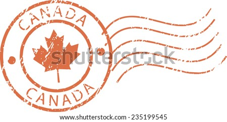 Postal grunge stamp 'Canada' - stock vector