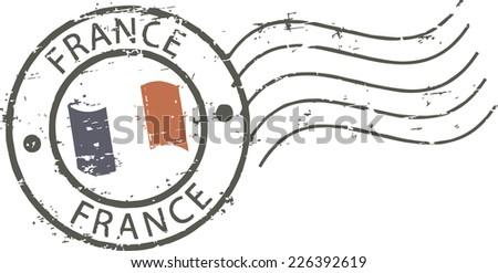 Postal grunge stamp 'France' - stock vector