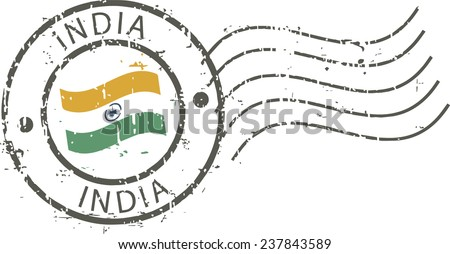 Postal grunge stamp 'India' - stock vector