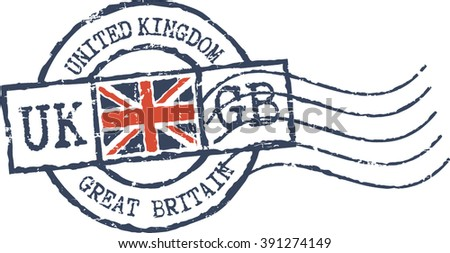 Postal grunge stamp 'United Kingdom' - stock vector