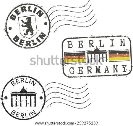 Postal grunge stamps 'Berlin' - stock vector