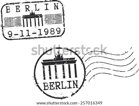 Postal grunge stamps 'Berlin' with the Brandenburg gate - stock vector