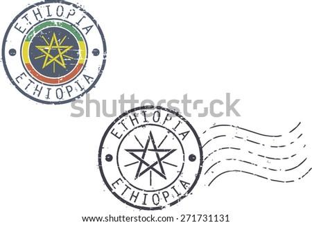 Postal grunge stamps 'Ethiopia' - stock vector