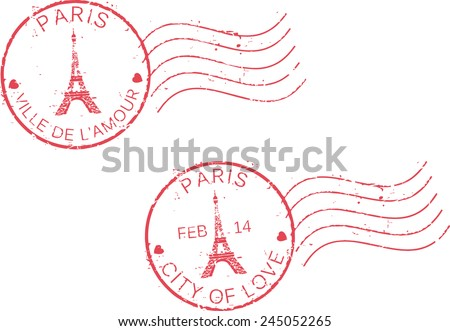 Postal grunge stamps 'Paris-city of love'.St. Valentine's day concept. French and english inscription. - stock vector
