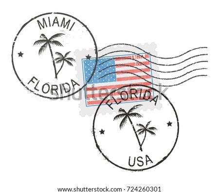 Postal Stamp Symbols Miamifloridausa Us Flag Stock Photo Photo