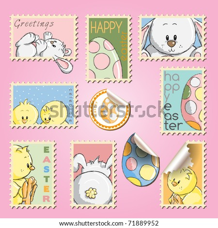 Postal stamps set collection - Easter eggs, bunnies and chickens - stock vector
