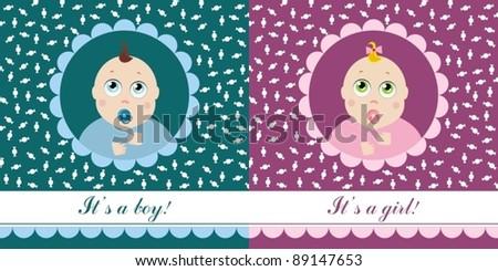 postcard boy girl - stock vector
