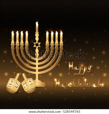 Postcard for greetings with Festival of Lights, Feast of Dedication Hanukkah. Golden menorah with candles and dreidels on black halftone background with gold shining. Vector illustration