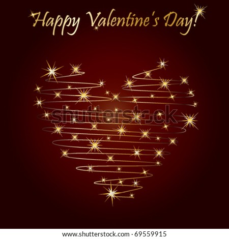 Postcard for Valentine's day with shape of heart over red - stock vector
