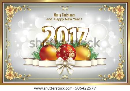 Postcard Happy New Year 2017 with a ball and a ribbon with a bow in a frame with floral patterns