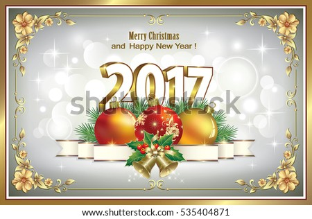 Postcard Happy New Year 2017 with ball and ribbon with bells in frame with floral patterns