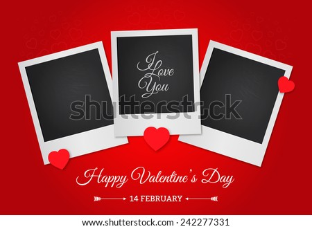 Postcard Happy Valentine's Day with a blank template for photo. Photo frame on a red background. - stock vector
