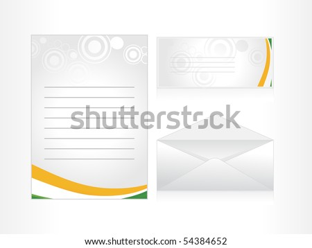 postcard, letterhead and envelop for national celebrating day - stock vector