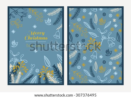 Postcard Merry Christmas. Congratulations on Christmas and New Year on a blue background in the style of hand-drawing - stock vector