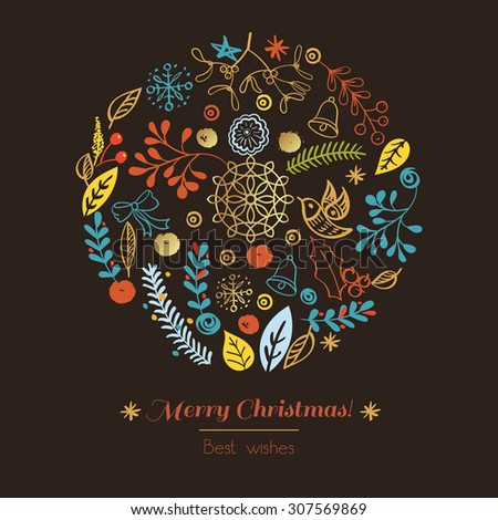 Postcard Merry Christmas. Congratulations on Christmas and New Year on a broun background in the style of hand-drawing - stock vector