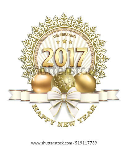 Postcard 2017 New Year with ball and a ribbon with a bow on a white background