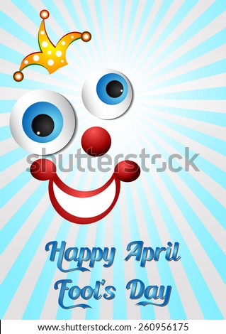Postcard on April 1 - April Fool's day. Face of joker on light blue. Vector illustration - stock vector
