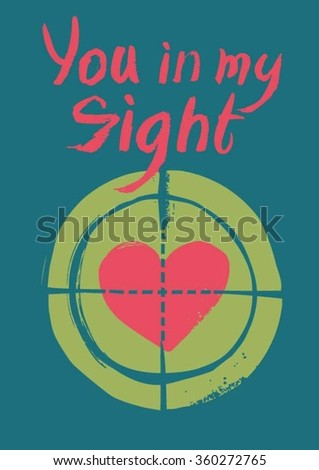 Postcard on Valentine's Day. Pink heart in my sight.  - stock vector