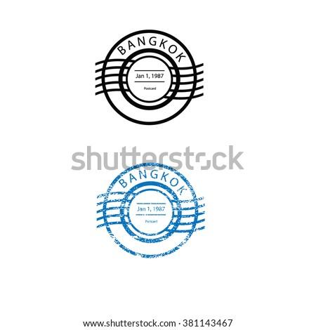postcard stamp texture bangkok stock vector royalty free 381143467