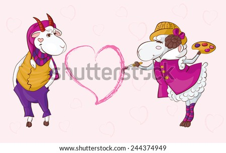 Postcard to the Valentine's Day can be illustrated interracial love for example, two species of domestic animals/Goat sheep valentine - stock vector