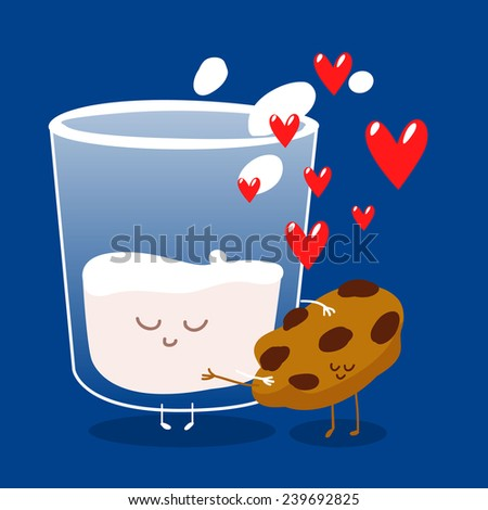 Postcard Valentine's Day. Cup of coffee with pieces of cookies. Comic food. Illustration with funny characters. Love and hearts - stock vector